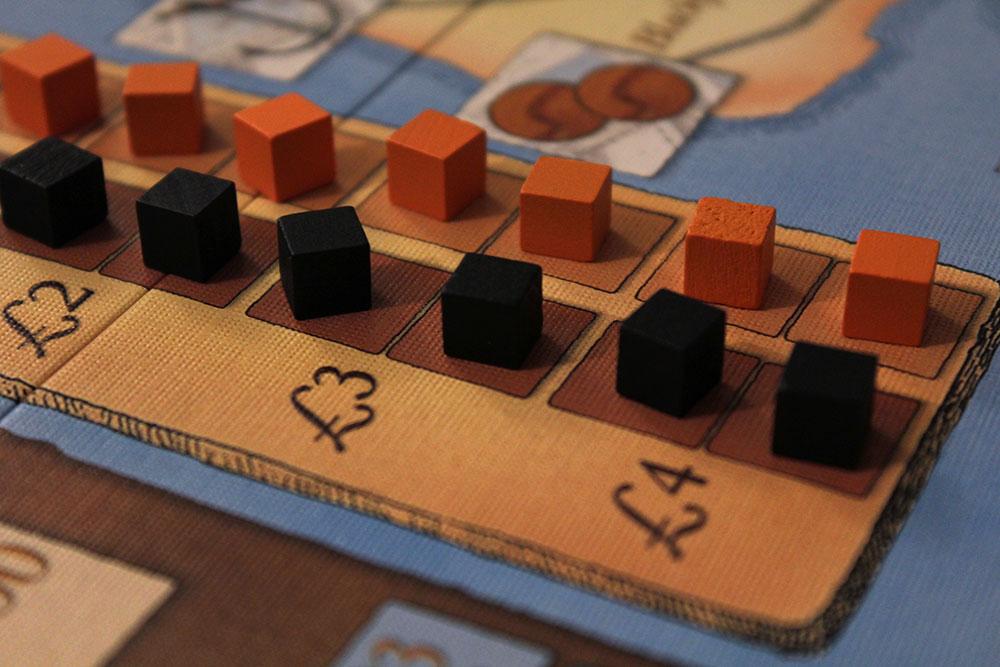 ボードゲーム「BRASS」の石炭キューブと鉄キューブ