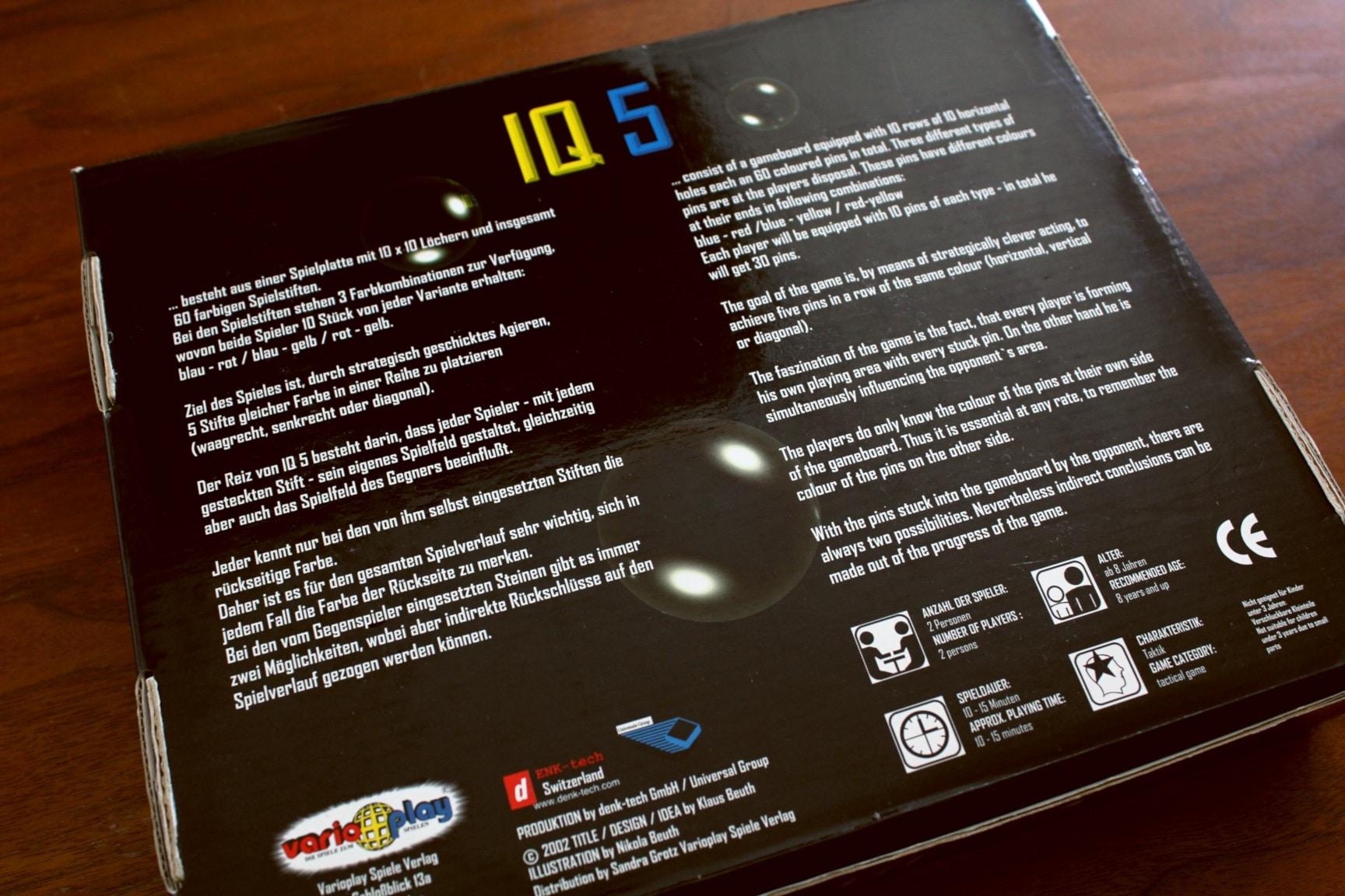 ボードゲーム「IQ5」の箱裏面