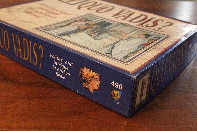 ボードゲーム「QUO VADIS?」の箱側面
