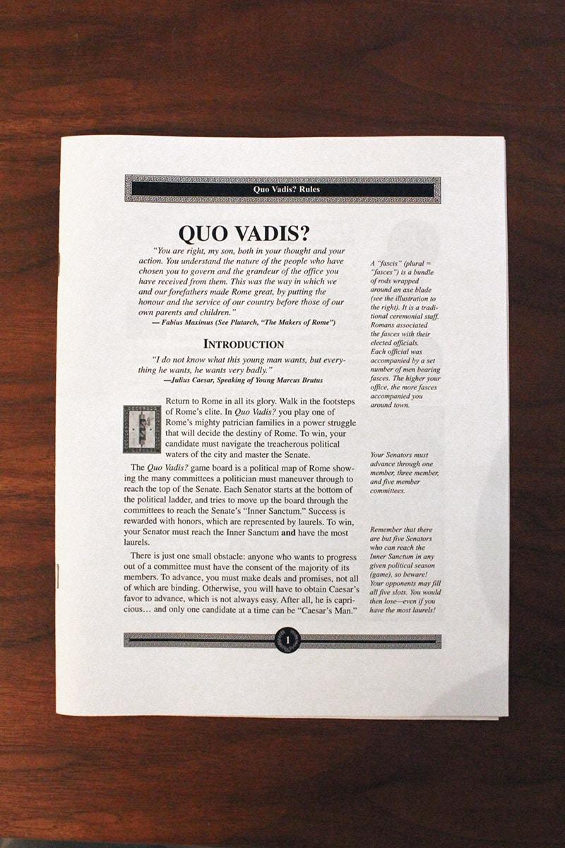 ボードゲーム「QUO VADIS?」のルールブック
