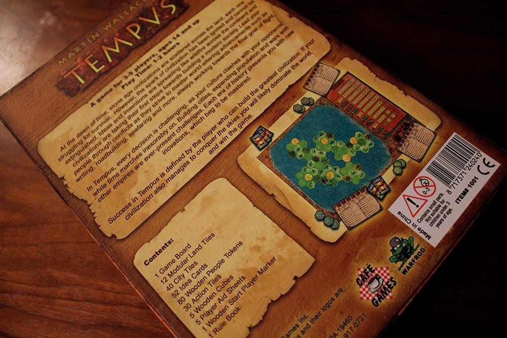 ボードゲーム「TEMPUS」の箱裏面