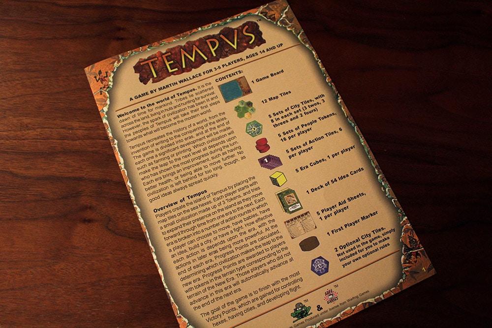 ボードゲーム「TEMPUS」のルールブック