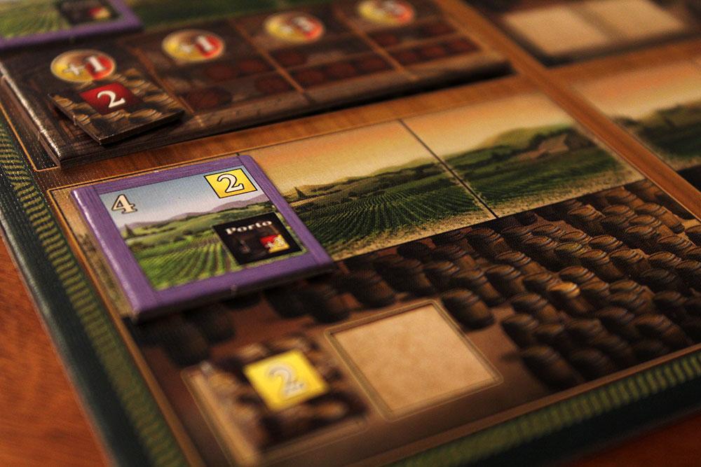 ボードゲーム「VINHOS」の白葡萄の畑