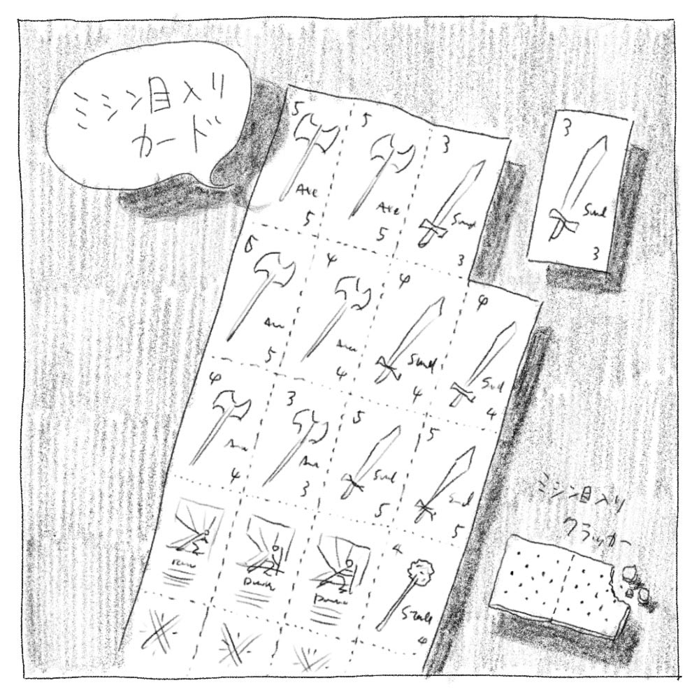 ボードゲーム「THE CHALLENGE」のミシン目付きカード