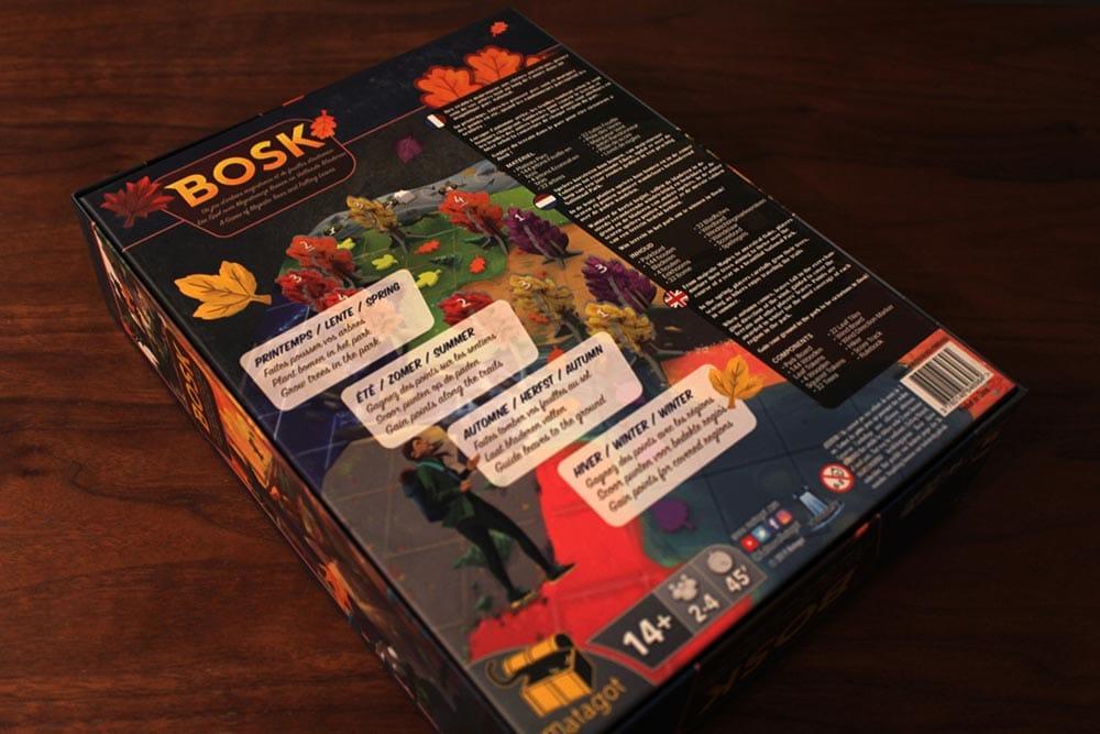 ボードゲーム「BOSK」の箱裏面