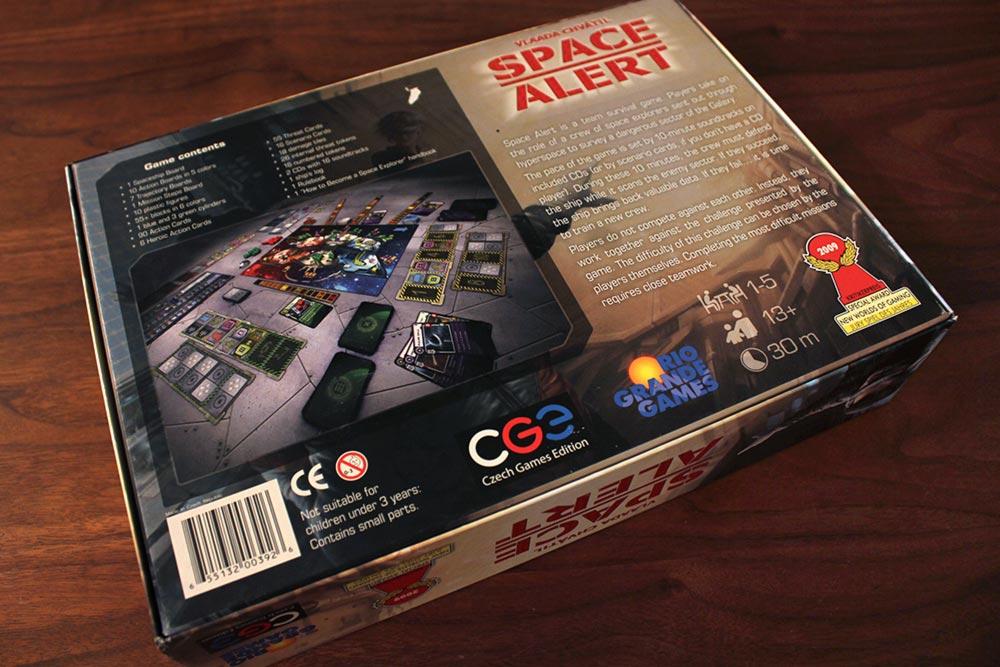 ボードゲーム「SPACE ALERT」の箱裏面
